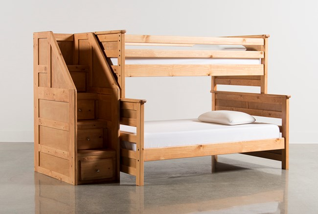 Summit Caramel Twin Over Full Bunk Bed With Stairway Chest - 360