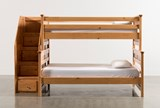 Summit Caramel Twin Over Full Bunk Bed With Stairway Chest - Back