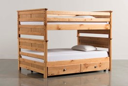 Summit Caramel Full Over Full Bunk Bed With Trundle With Mattress