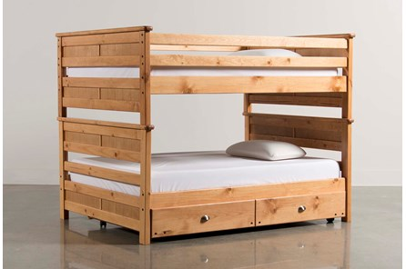 Summit Caramel Full Over Full Bunk Bed With Trundle With Mattress - Main
