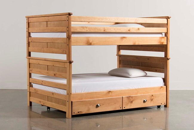 Summit Caramel Full Over Full Bunk Bed With Trundle With Mattress - 360