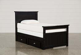 Summit Black Twin Panel Bed With Single 2-Drawer Underbed Storage