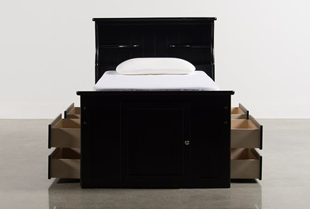 Summit Black Twin Bookcase Bed With Double 4- Drawer Storage