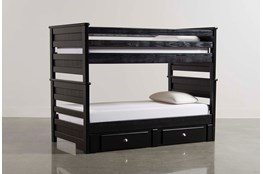 Summit Black Twin Over Twin Bunk Bed With 2 Drawer Underbed Storage