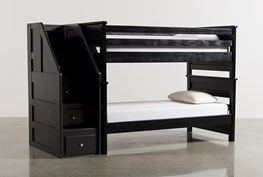 Summit Black Twin Over Twin Bunk Bed With Stairway Chest