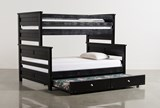 Summit Black Twin Over Full Bunk Bed With Trundle With Mattress - Back