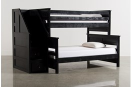 Summit Black Twin Over Full Bunk Bed With Stairway Chest