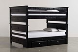 Summit Black Full Over Full Bunk Bed With 2- Drawer Underbed Storage - Signature