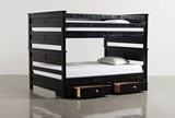 Summit Black Full Over Full Bunk Bed With 2- Drawer Underbed Storage - Back
