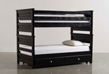 Summit Black Full Over Full Bunk Bed With Trundle With Mattress - Signature