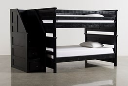 Summit Black Full Over Full Bunk Bed With Stairway Chest