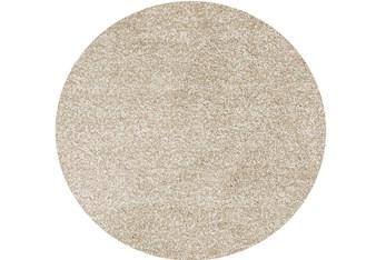 6' Round Rug-Elation Shag Heather Ivory