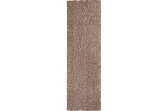 27X90 Runner Rug-Elation Shag Heather Beige
