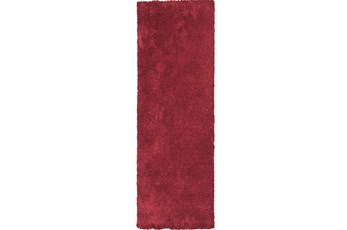 27X90 Runner Rug-Elation Shag Red