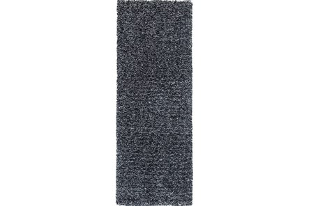 27X90 Runner Rug-Elation Shag Heather Black