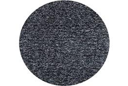 6' Round Rug-Elation Shag Heather Black