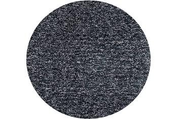 8' Round Rug-Elation Shag Heather Black