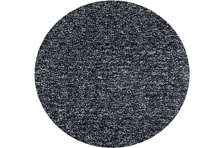 96 Inch Round Rug-Elation Shag Heather Black - Main