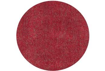 6' Round Rug-Elation Shag Heather Red