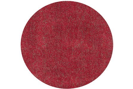 72 Inch Round Rug-Elation Shag Heather Red