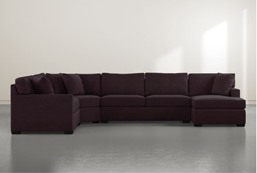 """Alder Purple Foam 4 Piece 152"""" Sectional with Right Arm Facing Chaise"""