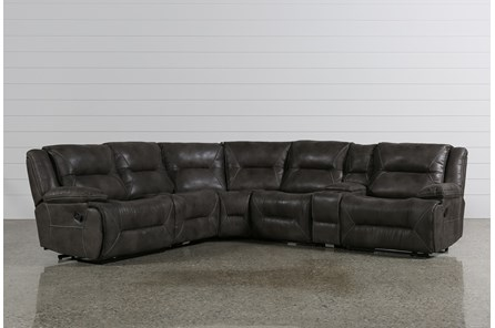 Calder Grey 6 Piece Manual Reclining Sectional - Main