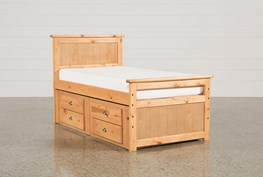 Summit Caramel Twin Panel Bed With 2- Drawer Captains Trundle