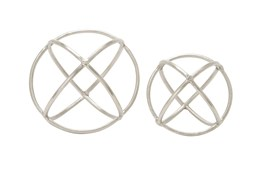 2 Piece Set Silver Ring Orbs