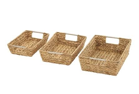 3 Piece Set Rectangular Seagrass Baskets