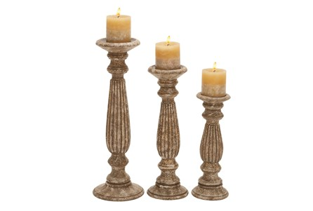 3 Piece Set Manor Wooden Candleholders