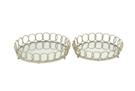 2 Piece Set Leena Metal & Glass Trays