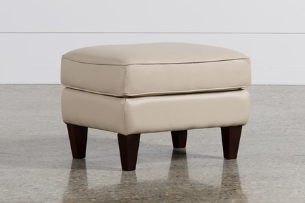 Madison Taupe Leather Ottoman