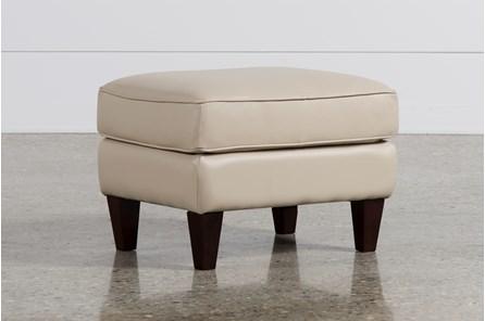 Madison Taupe Leather Ottoman - Main