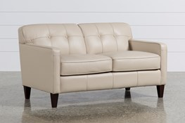 Madison Taupe Leather Loveseat