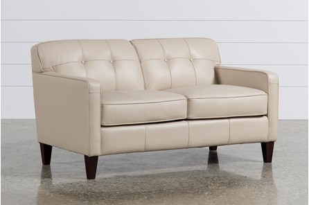 Madison Taupe Leather Loveseat - Main