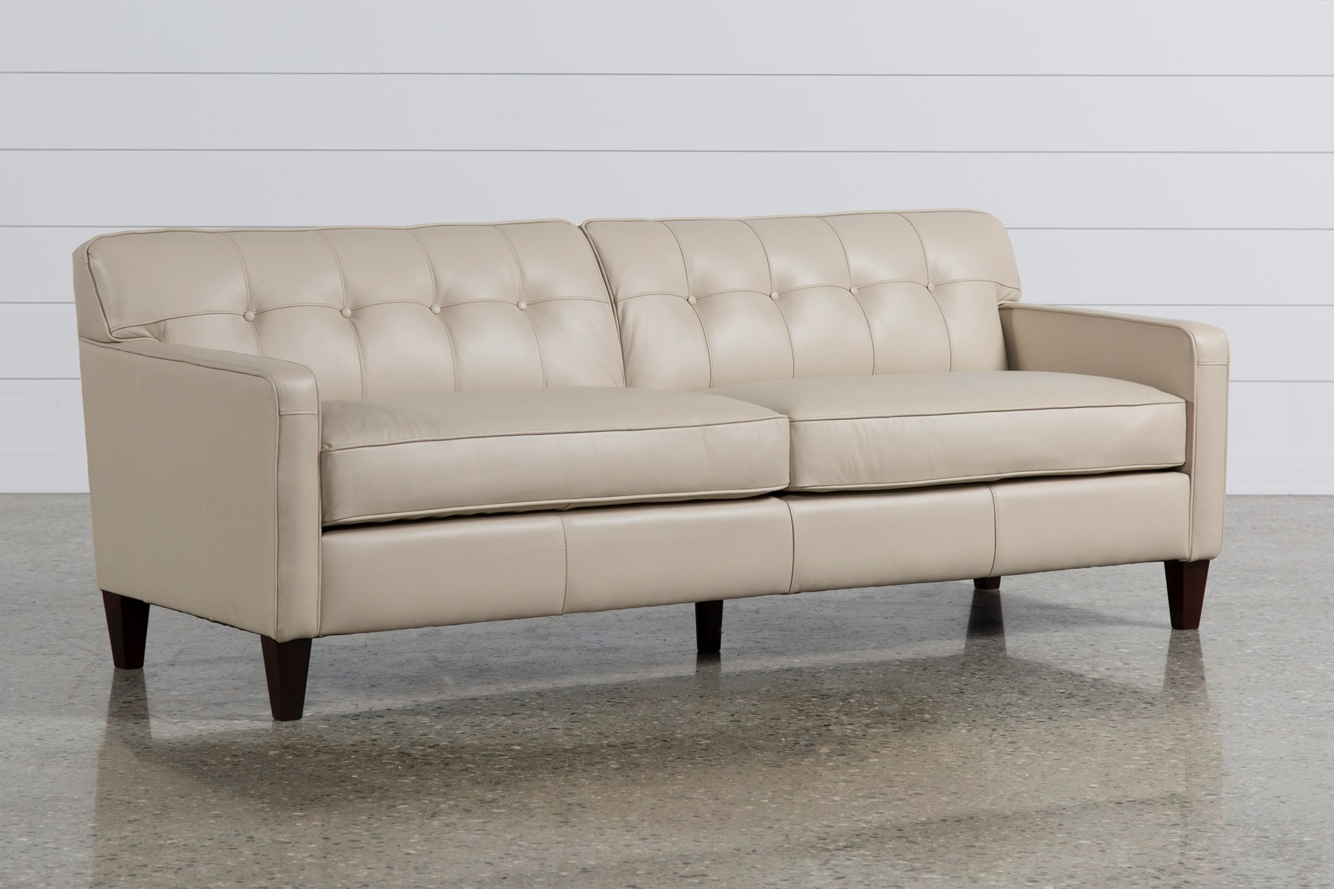 Leather Sofas Free Assembly With Delivery Living Spaces ~ Beige Color Leather Sofa