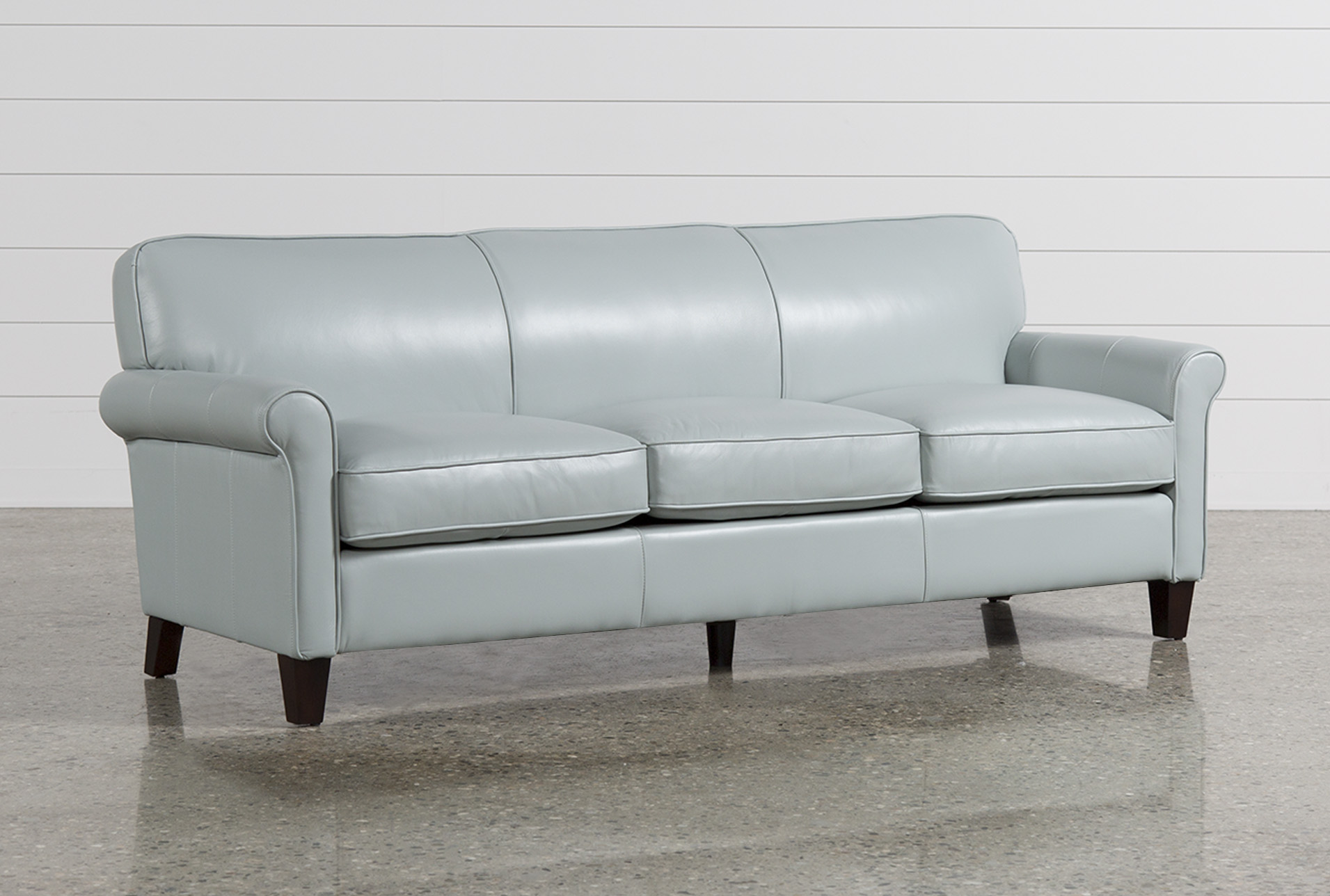 Delicieux Phoebe Blue Leather Sofa   360
