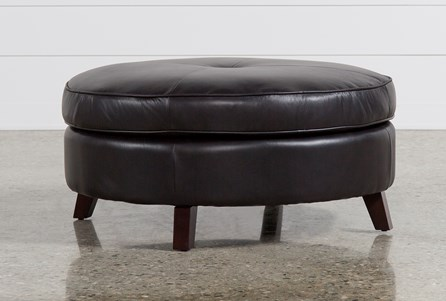 Phoebe Brown Leather Cocktail Ottoman
