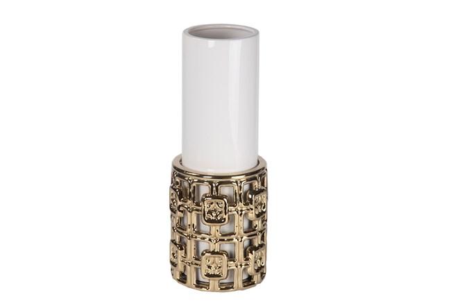 Gold & White Ceramic Vase Large - 360