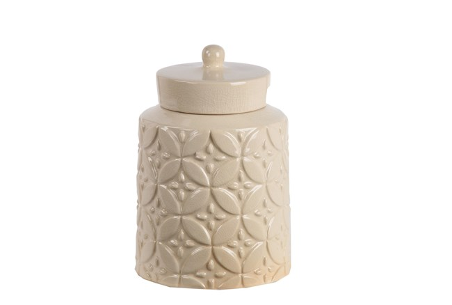 Cream Ceramic Jar W/Lid Small - 360
