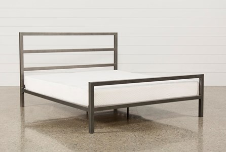 Orson Grey California King Metal Panel Bed