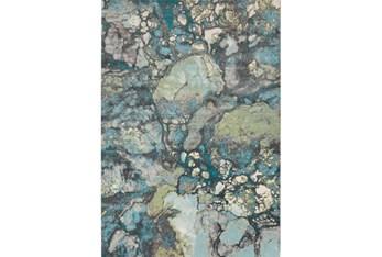 """2'2""""x3' Rug-Ketton Abstract Teal/Lime/Grey"""