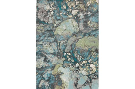 90X126 Rug-Ketton Abstract Teal/Lime/Grey