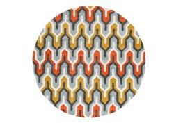 96 Inch Round Rug-Marsha Poppy/Grey/Gold