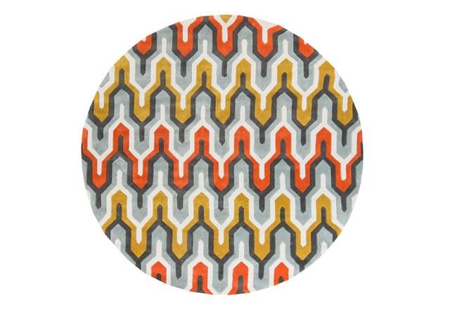 96 Inch Round Rug-Marsha Poppy/Grey/Gold - 360