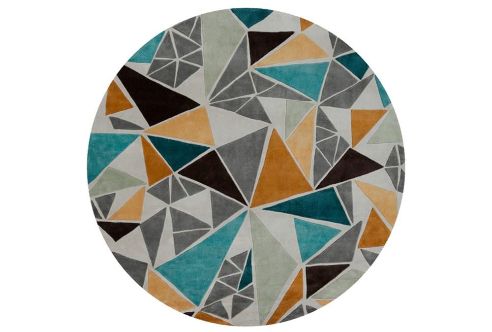 96 Inch Round Rug-Trinity Grey/Gold/Teal