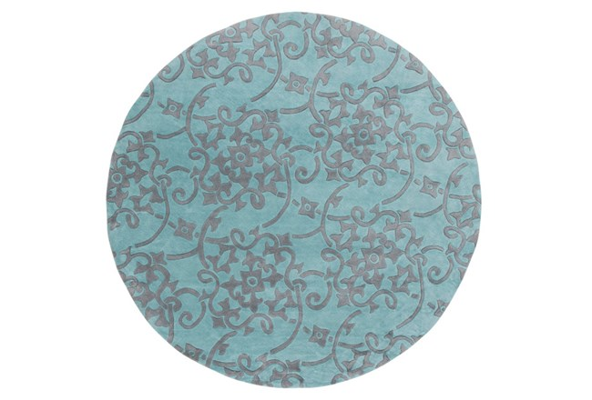 96 Inch Round Rug-Colleen Teal/Slate - 360