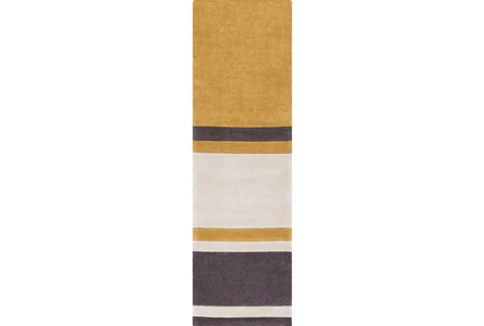 30X96 Rug-Benjamin Stripe Gold/Charcoal