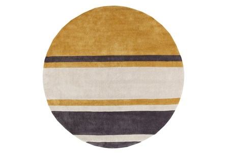 96 Inch Round Rug-Benjamin Stripe Gold/Charcoal