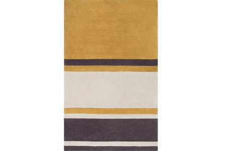 108X156 Rug-Benjamin Stripe Gold/Charcoal